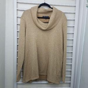 Jones New York Gold Shimmer Cowl Neck Sweater 3X